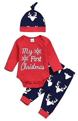 FANCYINN Body de Navidad para niños pequeños Baby Boy Girl Mi Primera Navidad Mameluco de Manga...