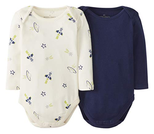 Moon and Back by Hanna Andersson 2 PK Long Sleeve Bodysuit Infant-and-Toddler-Bodysuits, Azul...