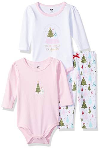 Hudson - Conjunto de body y pantalón para bebé Rosa Árboles brillantes 12 meses