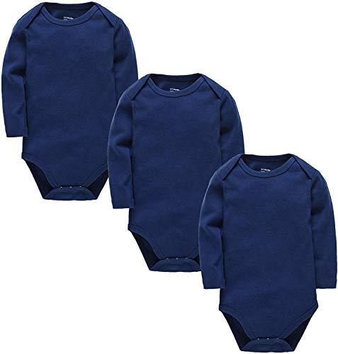 kavkas - Camisetas de manga larga para bebés y bebés, de algodón suave, 3 unidades de monos...