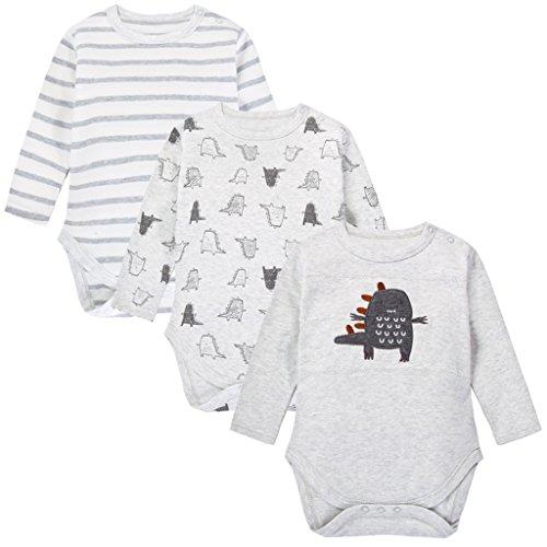Body para Bebés, Manga Larga, Pack de 3, Pijama de algodón por 12-18 Meses