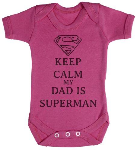 TRS - Calm Dad Is Superman Regalo para bebé, Body para bebé niño, Body para bebé niña 0-3M Rosa