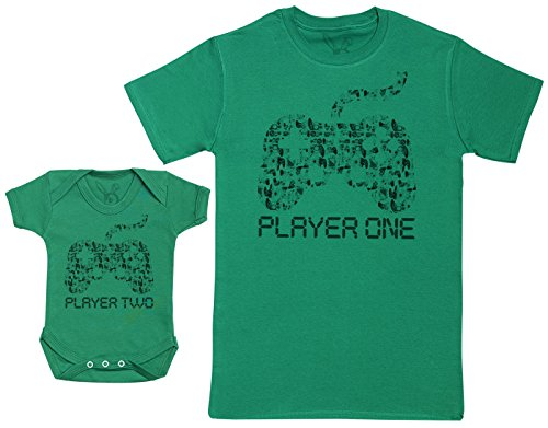 Baby Bunny Player One & Player Two - Una Prenda - Parte de un Conjunto - Verde - Medium - Camiseta...