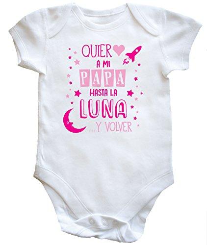 Hippowarehouse Quiero A MI PAPÁ hasta LA Luna Y Volver (Rosa) Body Bodys Pijama niños niñas...