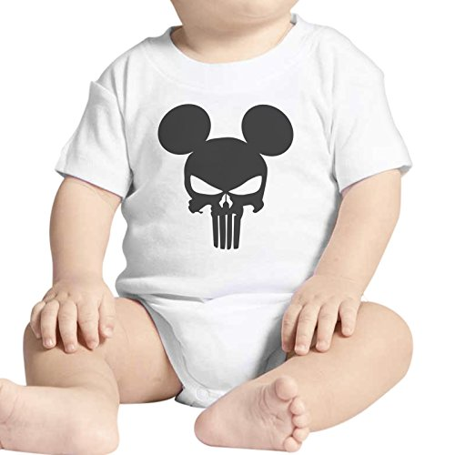 Body bebé Fashion The Punisher Mickey Skull Calavera – Blanco Blanco Bianco