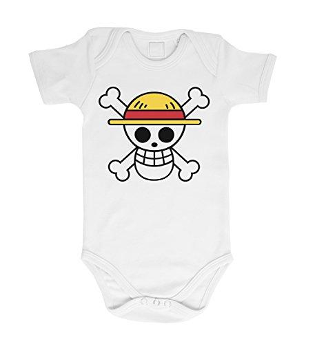 Ruffy Straw Hat Logo Baby Bebé Body Ruffy One Monkey Anime Piece Zoro, Farbe2:Blanco;Größe2:68