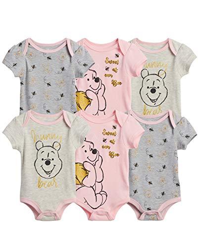 Disney Baby Girls 6 Piece Short Sleeve Bodysuits – Minnie, Ariel, Pooh (Newborn/Infant), Size 6-9...