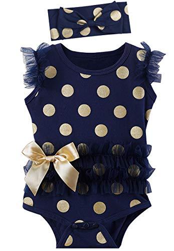 MOMBEBE COSLAND Body Bebé Niña Lunares Encaje con Diadema Algodón (12-18 Meses, Azul Marino)