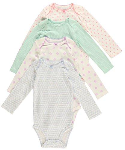 Carter's Bodies para bebé de niña, paquete de 4 Multicolor Multicolor 9 Meses