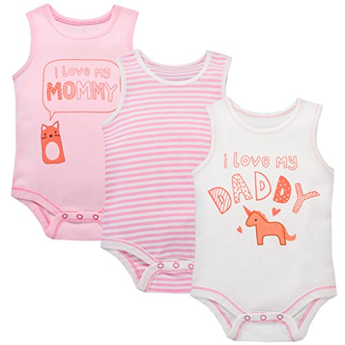 Body Bebé-Niñas Pack de 3, Body Sin Mangas Monos de algodón 18-24 Meses