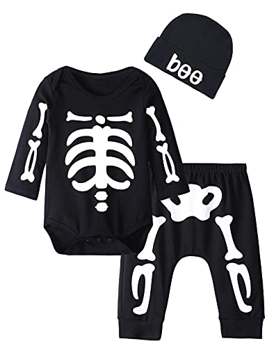 MOMBEBE COSLAND Bebé Halloween Ropa Esqueleto Niño Pequeño Conjunto de Pantalones de Manga Larga...