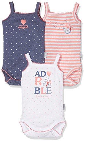 Absorba 3 Bodies Bretelle Adorable Bebe Body, Multicolor (Grenadine 096), 2 Años para Bebés