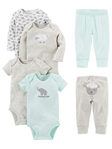 Simple Joys by Carter's - Conjunto de 6 piezas de body para bebé (manga corta y larga) y pantalones...
