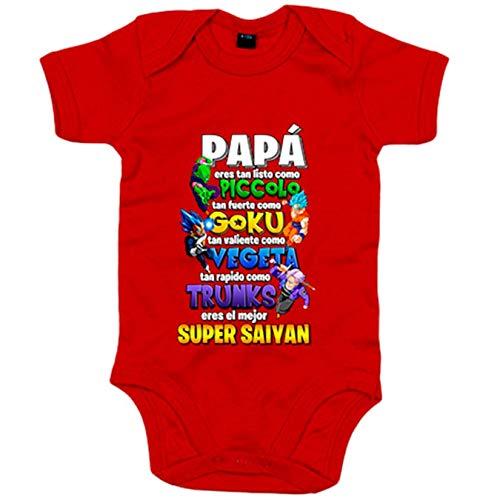 Body bebé papá eres el mejor Super Saiyan frase ilustración parodia - Rojo, 6-12 meses