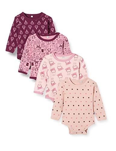 Pippi 4er Pack Baby Body Mit Aufdruck, Langarm Shaping, Morado (Lilac 600), 95 (Talla del...