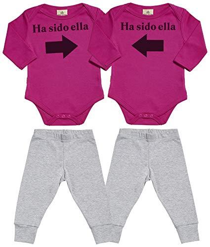 Spoilt Rotten SR - Ha Sido Ella & Ha Sido Ella - Conjunto Gemelo - Regalo para bebé - Rosa Body...