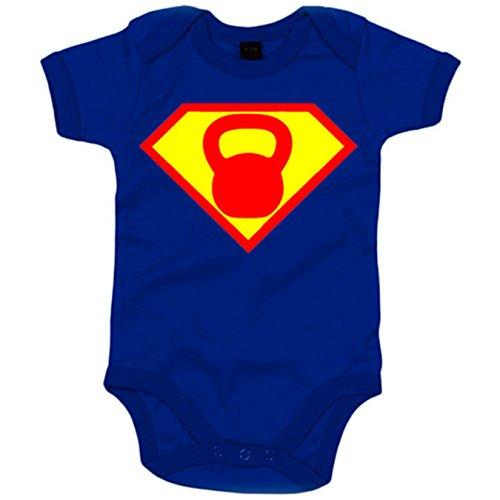 Body bebé Crossfit kettlebell parodia Superman - Azul Royal, 6-12 meses