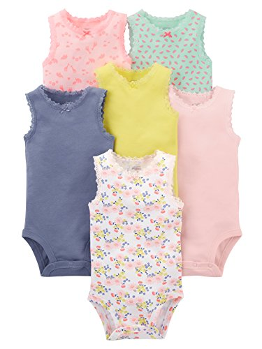 Simple Joys by Carter's - Body sin mangas para niña (6 unidades) ,Pink, Purple, Yellow, Floral...