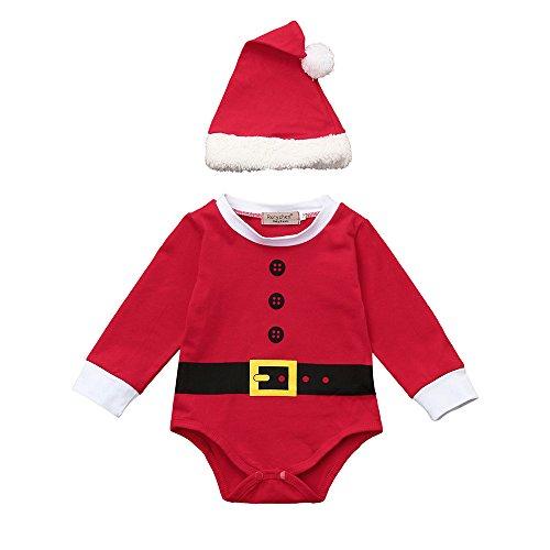 Covermason Bebé Unisex Navidad Conjunto, Rojo Lindo Mono Bodies + Christmas Sombrero para 0-18M...