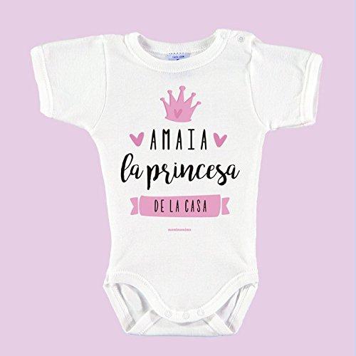 Body Bebé Personalizado con Nombre 100% Algodón Orgánico'Soy la princesa de la casa' (3 meses,...