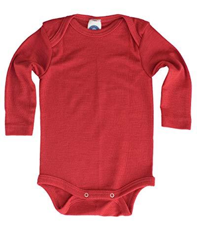 Cosilana - Body de manga larga, 70% lana (kbT), 30% seda rojo 50/56 cm