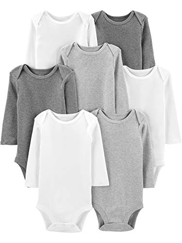 Simple Joys by Carter's 7-Pack Long-Sleeve Bodysuit Undershirts, White/Light Medium Heather Grey,...