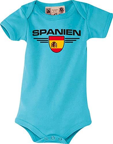 Shirtstown Body Bebé España, Escudo, Land, Países - Azul Claro, 0-6Monate