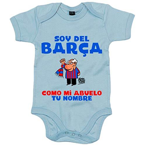 Body bebé frase parodia soy del Barcelona como mi abuelo personalizable con nombre - Celeste, 12-18...