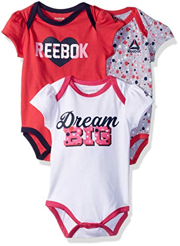 Reebok Baby Girls 3 Pack, Dream Big Creepers, White, 0-3 Months