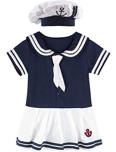MOMBEBE COSLAND Body Bebé Disfraz Marinera Niña Vestido Algodón (Marinero 3, 6-12 Meses)