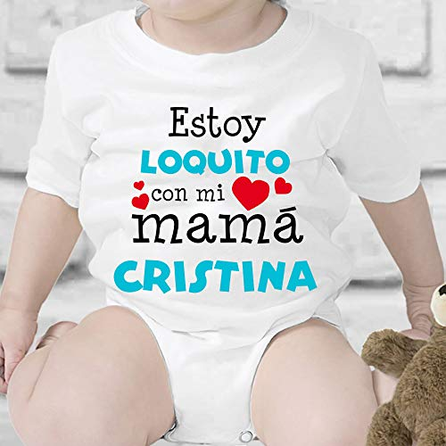 Regalo personalizado: body para bebé o camiseta infantil 'Estoy loquito con mi mamá'...