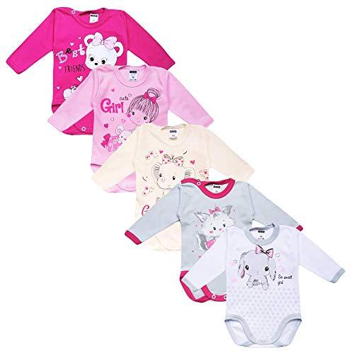 MEA BABY Body unisex de manga larga para bebé, 100 % algodón, en paquete de 5 unidades, body de...