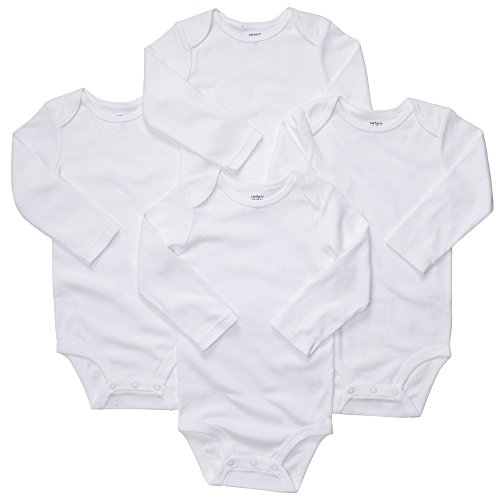 Carter's Unisex-Baby - Pack de 4 monos de manga larga, color blanco, 12M
