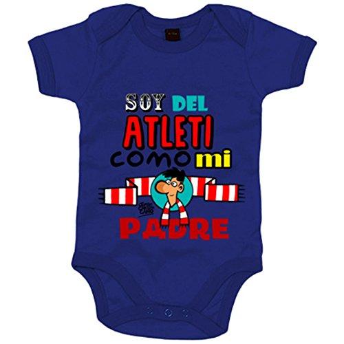 Body bebé soy del Atleti como mi padre ilustrado por Jorge Crespo Cano - Azul Royal, Talla única...