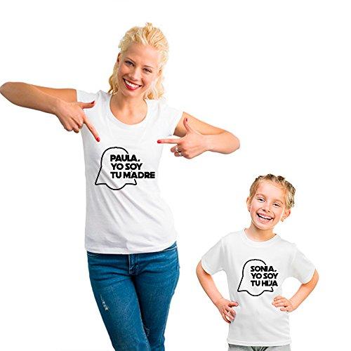 Regalo Personalizable para Madres: Pack de Camiseta para mamá + Camiseta para Hijo/a o Body para...