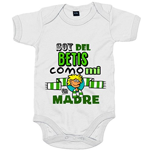 Body bebé frase soy del betis como mi madre ilustrado por Jorge Crespo Cano - Blanco, Talla única...