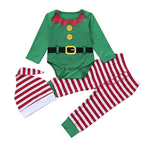 Bebe Navidad Disfraz Duende Ropa Conjunto Recién Nacido Niña Niño Bodies Tops + Gorra +...