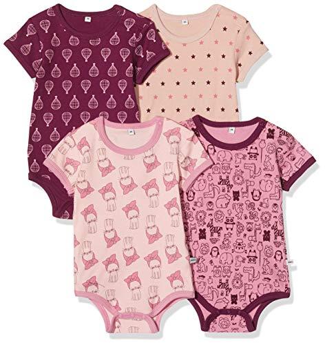 pippi 4er Pack Baby Body mit Aufdruck, Kurzarm, morado, 9 mes para Bebés