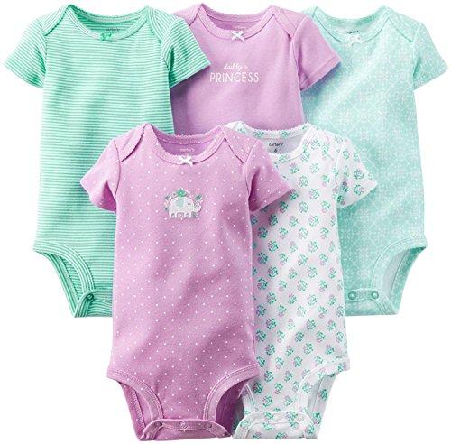 Carter's - Body de bebé con diseño de elefante floreciente (5 unidades), color morado y...