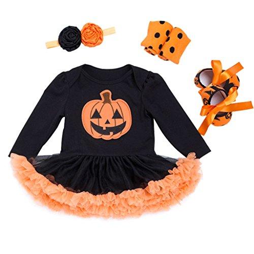 Bebé Niñas 4pcs Trajes de Halloween Tutú Mameluco con Venda Calentadores de pierna Zapatos Traje...