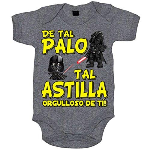 Body bebé parodia Darth Vader de tal palo tal astilla orgulloso de ti - Gris, 12-18 meses