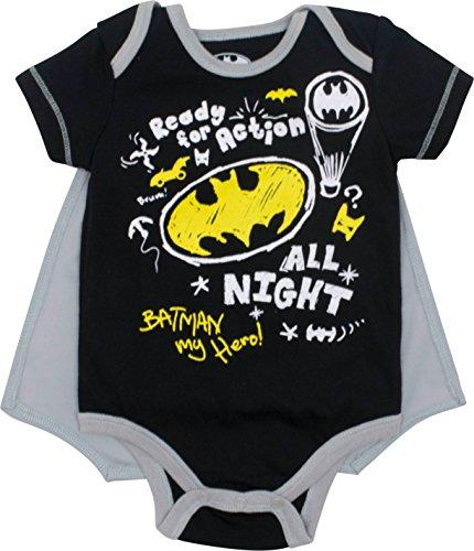 DC Comics Body de Manga Corta de Batman con Capa - Disfraz Friki Divertido para Bebé-Niños, Gris...