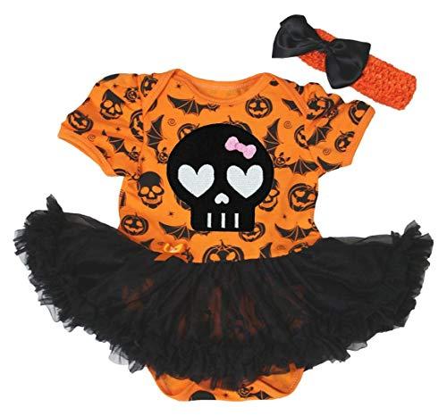 Vestido de Halloween, Naranja Calabaza Body de tutú de Color Negro de Calavera Baby Set nb-18m...