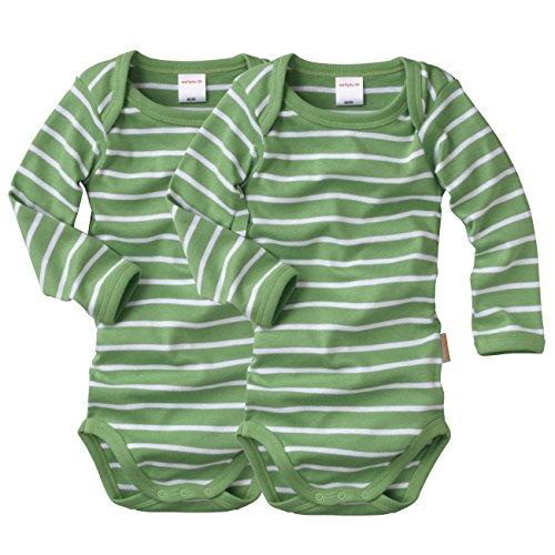 WELLYOU Conjunto de 2 Bodys Mangas largas para bebés/niños, Conjunto de 2 Color Verde con Rayas...