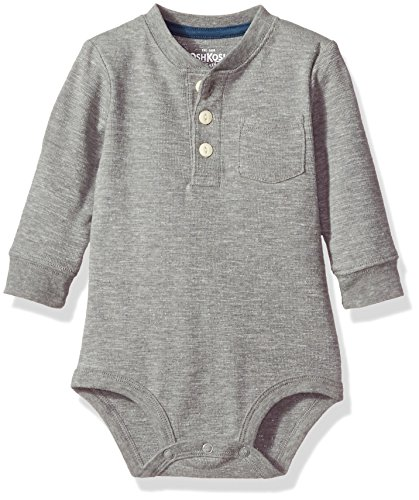 Osh Kosh Baby Boys' Pocket Henley Bodysuits, red, 6-9 Months