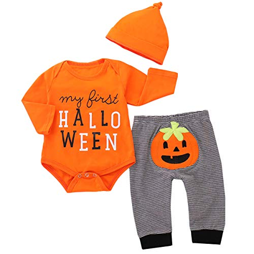 3PCS Conjunto de Halloween para bebé, Ropa Bebé Niña + Pantalones + Gorro, 0-3 Meses