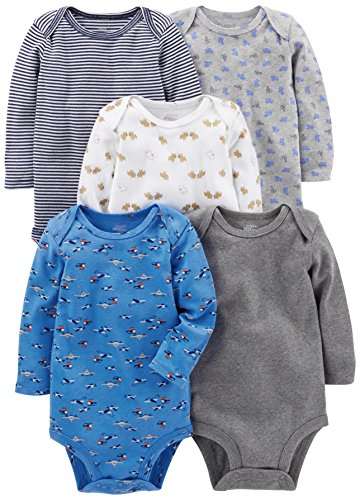 Simple Joys by Carter's - Body de manga larga para bebé, 5 unidades ,Azul/Gris ,12 Meses