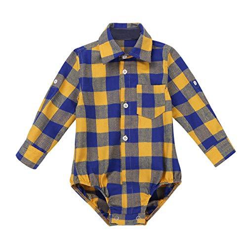 Agoky Camiseta de Cuadros para Bebé Niño Jumpsuit Mameluco Manga Larga Camisa Casual Mono Bebe...