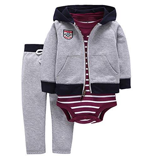 ZEVONDA Conjuntos Bebé Niños y Niñas 100% Algodón - Chaqueta con Capucha y Pantalones con Body...