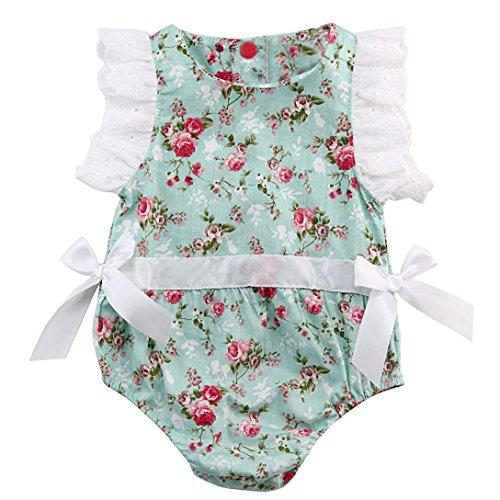 Amlaiworld Mono Bebé, Recién Nacido Ropa bebé Floral Cordón Trajes Mono Conjuntos 0-24 Mes (0-6...